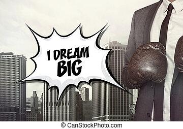 il portare, grande, guantoni da box, testo, uomo affari, sogno