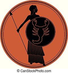 il portare, guerriero, stile, antico, scudo, lancia, suo, anfora, scorpione, piedi, donna, scorpio., greece., zodiaco