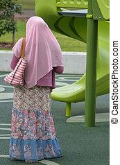il portare, hijab, donna, musulmano