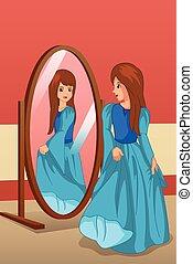 il portare, illustrazione, dall'aspetto, specchio, ragazza, vestire