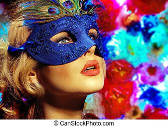 il portare, immagine, donna, maschera, carnevale