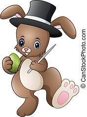 il portare, magia, presa a terra, bacchetta, uovo, coniglio, mago, cappello, cartone animato