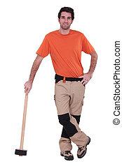 il portare, maglio, sporgente, uomo tuttofare, contro, ripristinato, pantaloni
