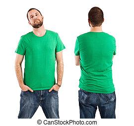 il portare, maschio, verde, camicia, vuoto