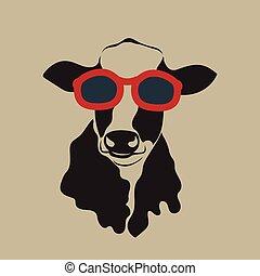 il portare, mucca, glasses.