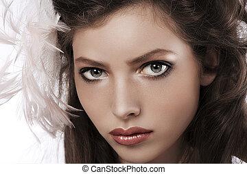 il portare, occhi garofano, lei, bellezza, grande, grigio, accessorio, capelli, carino, ritratto, ragazza, morbido, penna