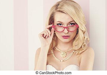 il portare, occhio donna, elegante, sexy, gatto, occhiali