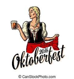 il portare, oktoberfest, donna, dirndl, bavarese, ballo, giovane, tradizionale, birra, presa a terra, sexy, mug., vestire