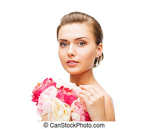il portare, orecchini, anello, donna, fiori