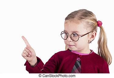 il portare, primo piano, poco, ritratto, ragazza, occhiali