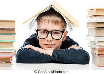 il portare, primo piano, suo, testa, libro, ritratto, scolaro, far male, occhiali