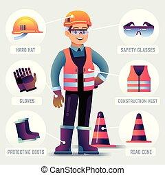 il portare, protettivo, ppe, protezione, gear., lavoratore, costruttore, equipment., infographic, vettore, occhiali di sicurezza, guanti, abbigliamento, casco, uomo
