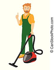 il portare, pulitore, service., su, esposizione, lavoratore, giovane, uniforme, pulizia, vuoto, uomo, pollici