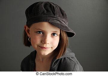 il portare, ragazza, berretto, strillone