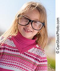il portare, ragazza, occhiali occhio