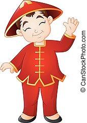 il portare, ragazzo, cinese, costume tradizionale, cartone animato