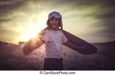 il portare, ragazzo, fatto, pilota, classico, gioco, giocattolo, cappello, pelliccia, essere, cartone, ali, occhiali