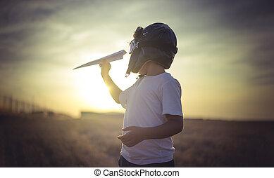 il portare, ragazzo, fatto, pilota, classico, immaginazione, gioco, giocattolo, cappello, pelliccia, essere, cartone, ali, occhiali