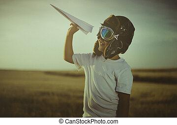 il portare, ragazzo, fatto, pilota, essere, gioco, gioco, giocattolo, classico, cappello, pelliccia, cartone, ali, occhiali