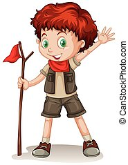 il portare, ragazzo, haired, equipaggiamento, esploratore, rosso