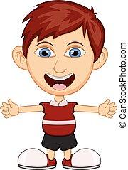 il portare, ragazzo, poco, camicia, carrello, rosso
