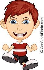 il portare, ragazzo, poco, camicia, rosso