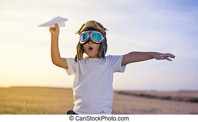 il portare, ragazzo, poco, casco, conveniente, aviatore, carta, mentre, aereo, tramonto, gioco, fare un sogno