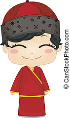 il portare, ragazzo, poco, changsam, cinese, nazionale, costume