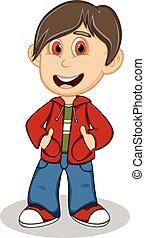 il portare, ragazzo, poco, giacca, rosso