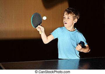 il portare, ragazzo, poco, pong;, camicia, blu, ping,...