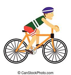 il portare, ragazzo, protettivo, casco, mentre, bicicletta passeggia