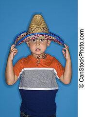 il portare, ragazzo, sombrero.