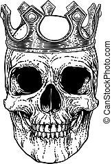 il portare, re, scheletro, cranio, corona reale, umano