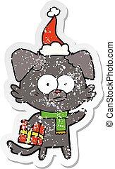 il portare, regalo, afflitto, nervoso, adesivo, cane, cappello santa, cartone animato