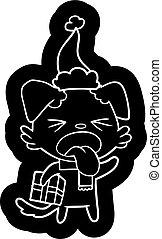 il portare, regalo, cane, schifato, santa, cartone animato, cappello, natale, icona