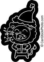 il portare, regalo, leone, santa, ruggire, cappello, cartone animato, icona