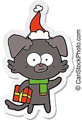 il portare, regalo, nervoso, adesivo, cane, cappello santa, cartone animato
