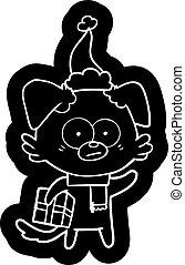il portare, regalo, nervoso, cane, cappello santa, cartone animato, icona