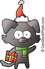 il portare, regalo, pendenza, nervoso, cane, cappello santa, cartone animato