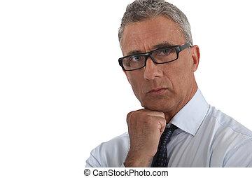 il portare, ritratto, uomo, thick-rimmed, occhiali