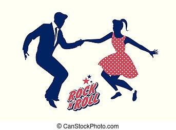 il portare, roll., ballo, 50, coppia, giovane, illustrazione, vettore, roccia, vestiti