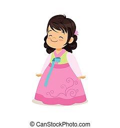 il portare, rosa, poco, corea, colorito, vestire, nazionale, carattere, illustrazione, vettore, costume, ragazza