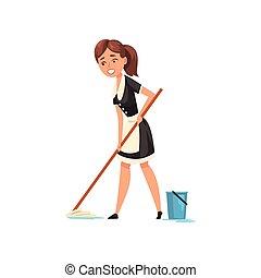 il portare, servizio, grembiule, classico, pavimento, carattere, illustrazione, uniforme, domestica, vettore, nero, pulizia, lavando, domestica, vestito bianco, sorridente