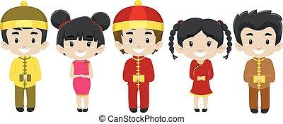 il portare, set, costume, cinese, bambini