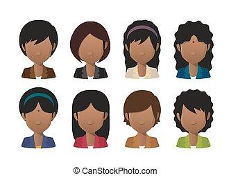 il portare, set, faceless, giovane, indiano, avatar, ...