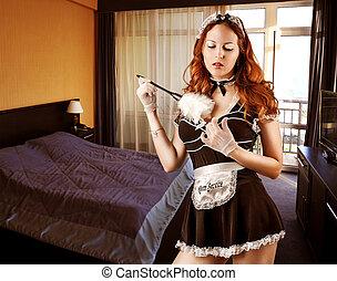 il portare, sexy, costume, domestica francese