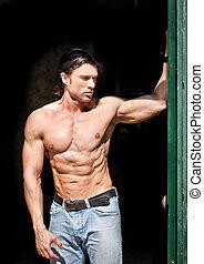il portare, shirtless, jeans, muscolare, bello, uomo