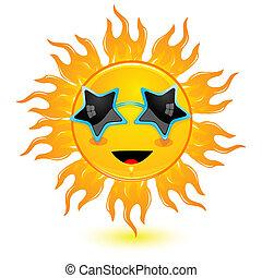 il portare, sole, astratto, occhiali protezione