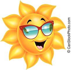 il portare, sole, occhiali da sole, cartone animato, carattere
