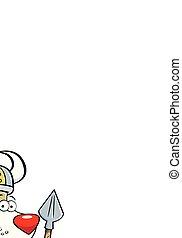 il portare, spear., cane, costume, presa a terra, viking, cartone animato